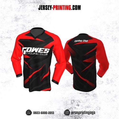 Jersey Gowes Sepeda Hitam Merah Abu Tua Lengan Panjang