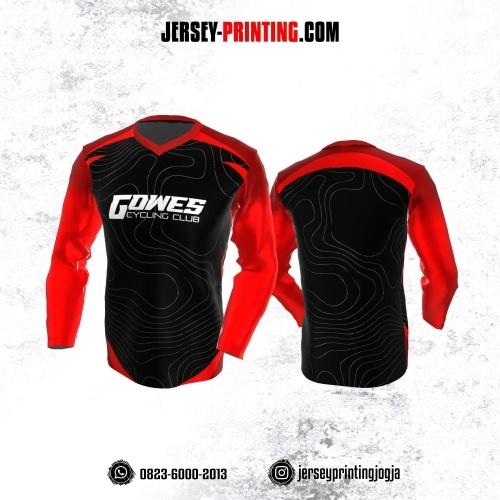Jersey Gowes Sepeda Hitam Merah Motif Abstrak Abu-abu Lengan Panjang