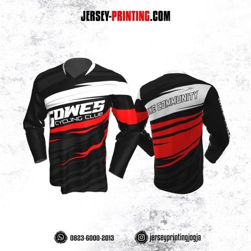 Jersey Gowes Sepeda Hitam Merah Putih Abu  Lengan Panjang