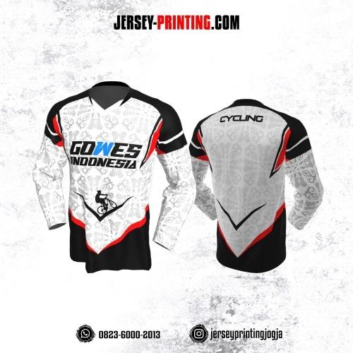 Jersey Gowes Sepeda Hitam Merah Putih Batik Lengan Panjang