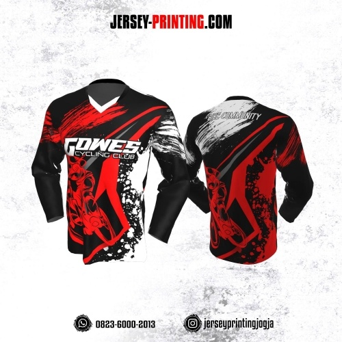 Jersey Gowes Sepeda Hitam Merah Putih Bercak Lengan Panjang