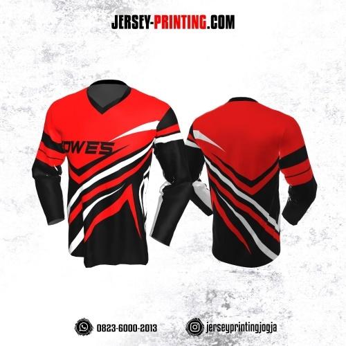 Jersey Gowes Sepeda Hitam Merah Putih Lengan Panjang