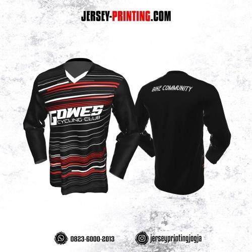 Jersey Gowes Sepeda Hitam Merah Putih Strip Lengan Panjang