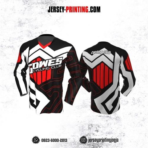 Jersey Gowes Sepeda Hitam Merah Putih Zigzag Lengan Panjang