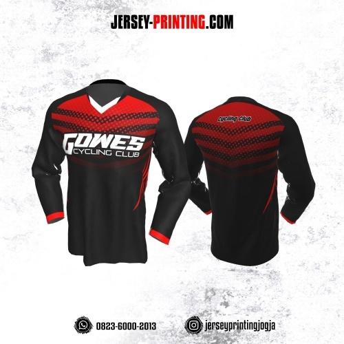 Jersey Gowes Sepeda  Hitam Merah Strip  Lengan Panjang