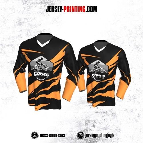 Jersey Gowes Sepeda Hitam Orange Abstrak Lengan Panjang