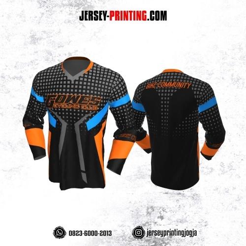 Jersey Gowes Sepeda Hitam Orange Abu Kotak Lengan Panjang