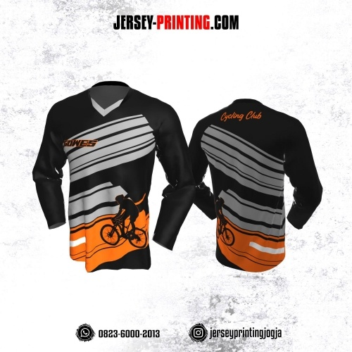 Jersey Gowes Sepeda Hitam Orange Abu Lengan Panjang