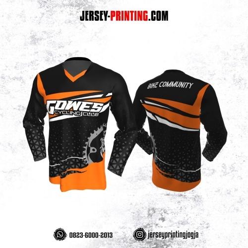 Jersey Gowes Sepeda Hitam Orange Abu Segitiga Lengan Panjang