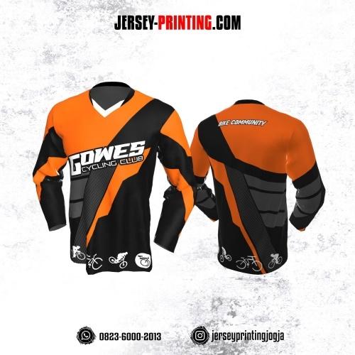 Jersey Gowes Sepeda Hitam Orange Abu Strip Lengan Panjang