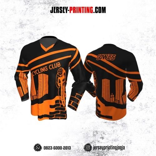 Jersey Gowes Sepeda Hitam Orange Garis Lengan Panjang