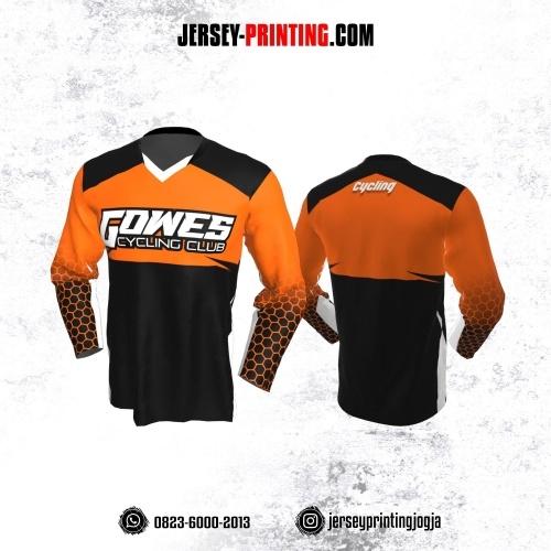 Jersey Gowes Sepeda Hitam Orange Hexagon Lengan Panjang