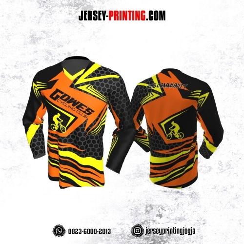 Jersey Gowes Sepeda Hitam Orange Kuning Abu Honeycomb Lengan Panjang
