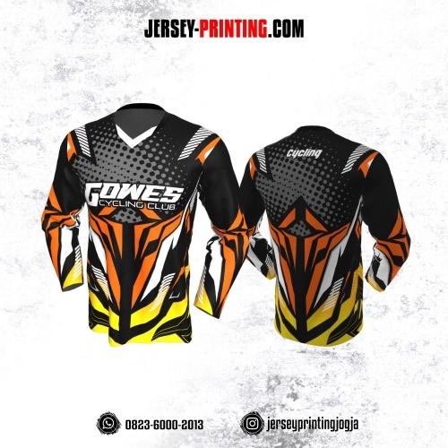 Jersey Gowes Sepeda Hitam Orange Kuning Abu Lengan Panjang
