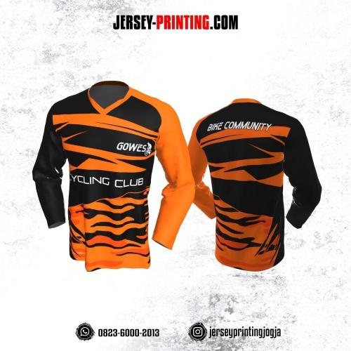 Jersey Gowes Sepeda Hitam Orange Lengan Panjang