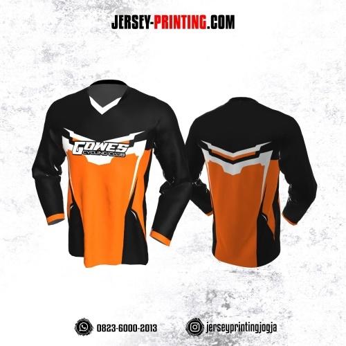Jersey Gowes Sepeda Hitam Orange Putih Lengan Panjang
