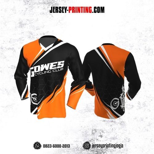 Jersey Gowes Sepeda Hitam Orange Putih Line 3D Lengan Panjang