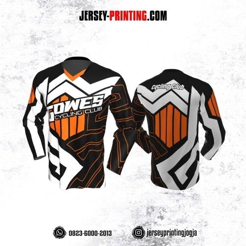 Jersey Gowes Sepeda Hitam Orange Putih Zigzag Lengan Panjang