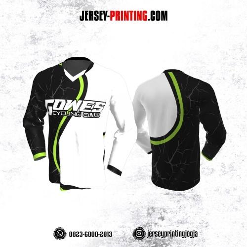 Jersey Gowes Sepeda Hitam Putih Abu Hijau Lengan Panjang