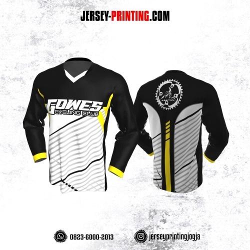 Jersey Gowes Sepeda Hitam Putih Abu Kuning Garis Lengan Panjang