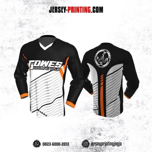Jersey Gowes Sepeda Hitam Putih Abu Orange Garis Lengan Panjang