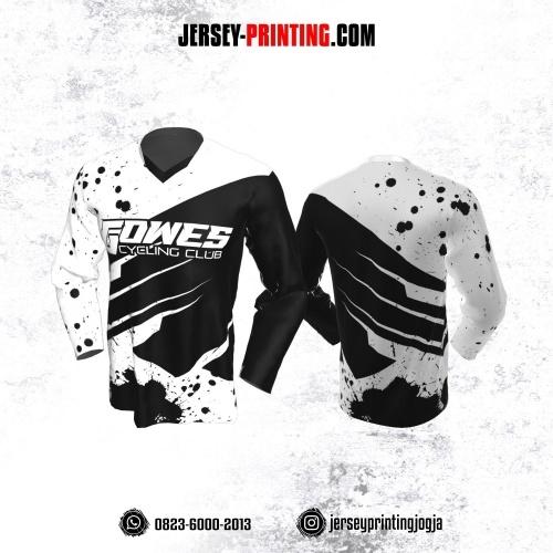 Jersey Gowes Sepeda Hitam Putih Bercak Lengan Panjang
