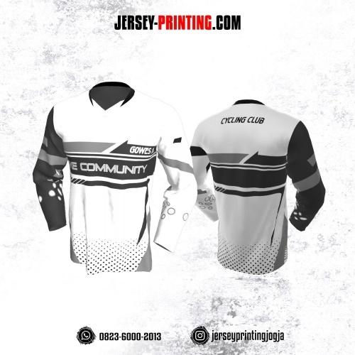 Jersey Gowes Sepeda Hitam Putih Bintik Lengan Panjang