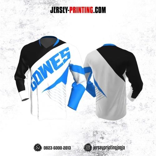 Jersey Gowes Sepeda Hitam Putih Biru Abu Strip Lengan Panjang