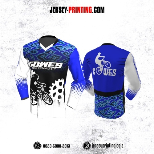 Jersey Gowes Sepeda Hitam Putih Biru Batik Megamendung Lengan Panjang