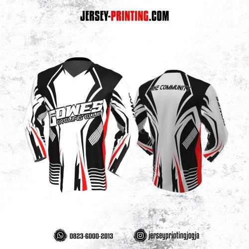 Jersey Gowes Sepeda Hitam Putih Merah Garis Lengan Panjang