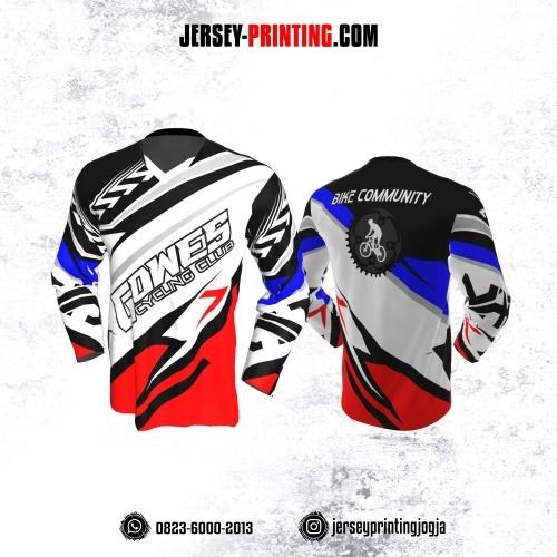 Jersey Gowes Sepeda Hitam Putih Merah Lengan Panjang