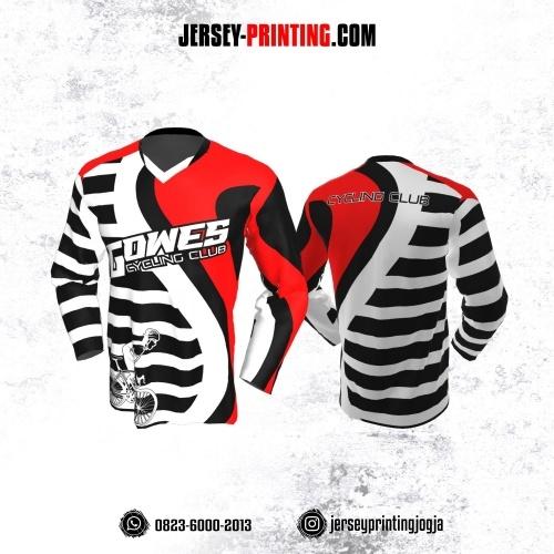 Jersey Gowes Sepeda Hitam Putih Merah Strip Lengan Panjang