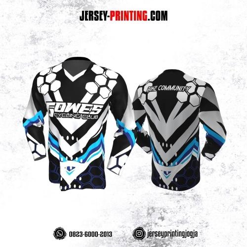 Jersey Gowes Sepeda Hitam Putih Ungu Honeycomb Lengan Panjang