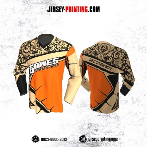 Jersey Gowes Sepeda Krem Orange Hitam Batik Lengan Panjang