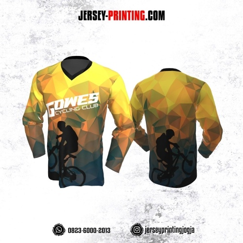 Jersey Gowes Sepeda Kuning Abu Diamond Lengan Panjang