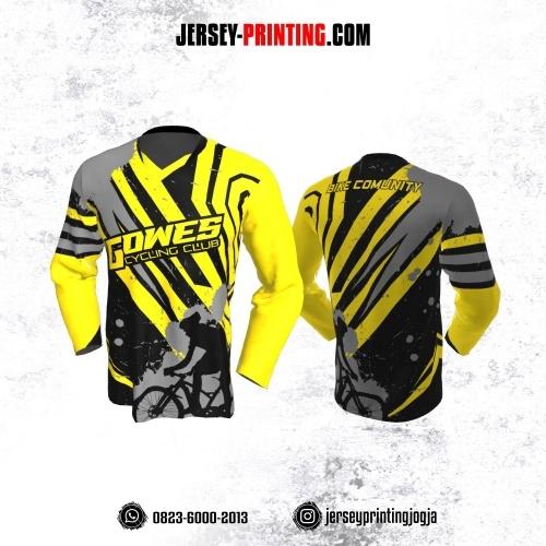 Jersey Gowes Sepeda Kuning Abu Hitam Lengan Panjang
