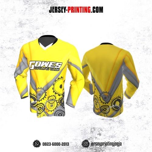 Jersey Gowes Sepeda Kuning Abu Lengan Panjang