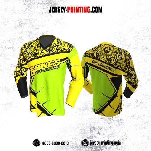 Jersey Gowes Sepeda Kuning Hijau Hitam Batik Lengan Panjang