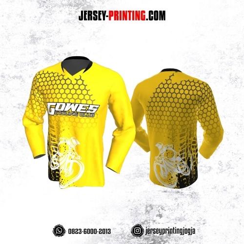 Jersey Gowes Sepeda Kuning Hitam Abu Hexagon  Lengan Panjang