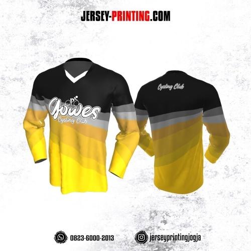 Jersey Gowes Sepeda Kuning Hitam Abu Lengan Panjang