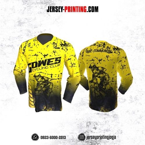 Jersey Gowes Sepeda Kuning Hitam Bercak Lengan Panjang