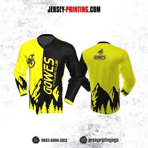 Jersey Gowes Sepeda Kuning Hitam Lengan Panjang