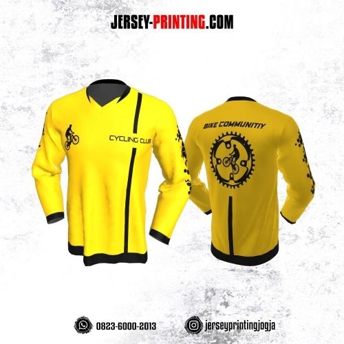 Jersey Gowes Sepeda Kuning Hitam Line Lengan Panjang
