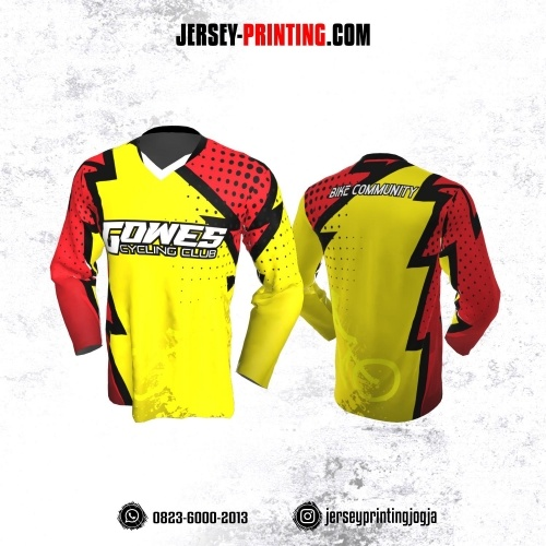 Jersey Gowes Sepeda Kuning Hitam Merah Lengan Panjang