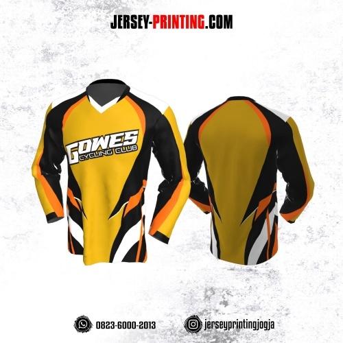 Jersey Gowes Sepeda Kuning Hitam Orange Lengan Panjang