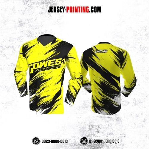 Jersey Gowes Sepeda Kuning Hitam Putih Lengan Panjang