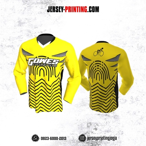 Jersey Gowes Sepeda Kuning Hitam Zigzag Lengan Panjang