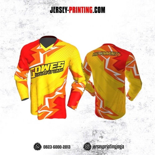 Jersey Gowes Sepeda Kuning Merah Kilat Lengan Panjang