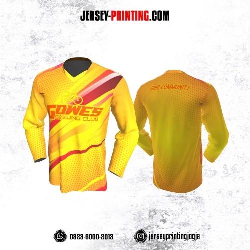 Jersey Gowes Sepeda Kuning Merah Lengan Panjang
