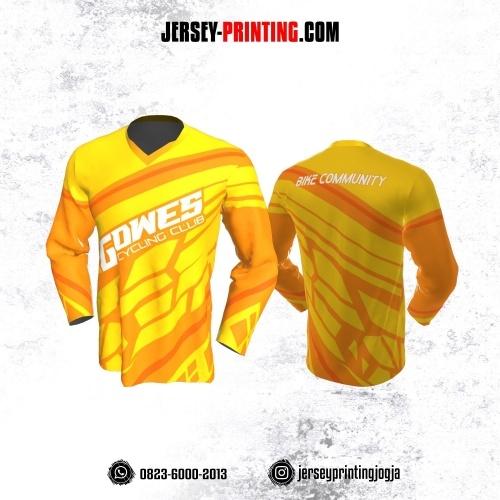 Jersey Gowes Sepeda Kuning Orange Abstrak Lengan Panjang